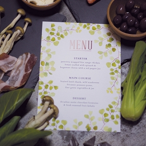 Free printable menu with woodsy watercolors