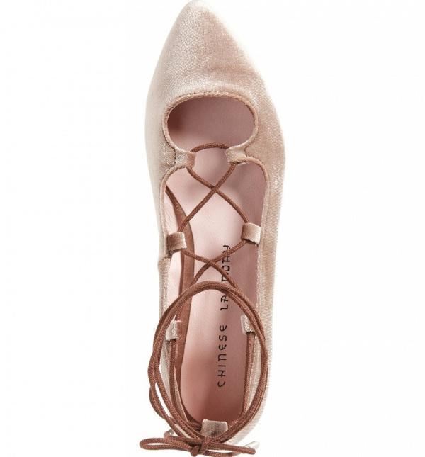 Blush velvet ballet flats
