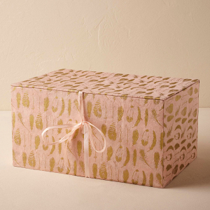 Gilded feather gift box