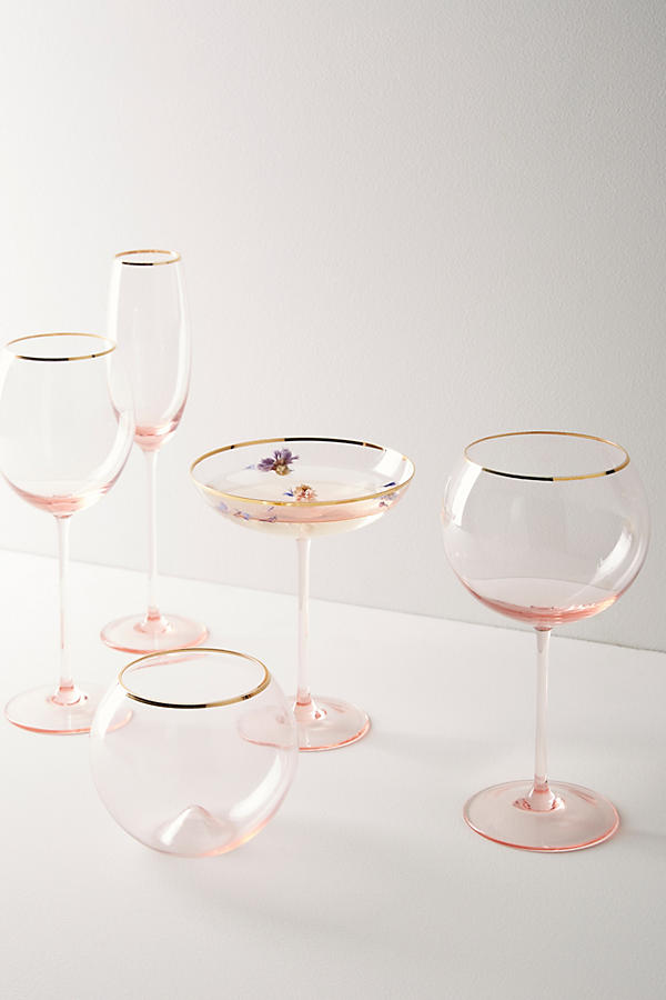 Gilded Rim Blush Glassware