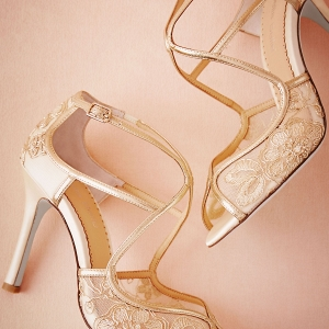 Metallic lace heels
