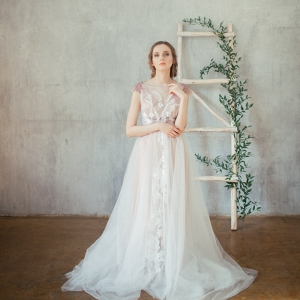 Rose silk and tulle wedding dress