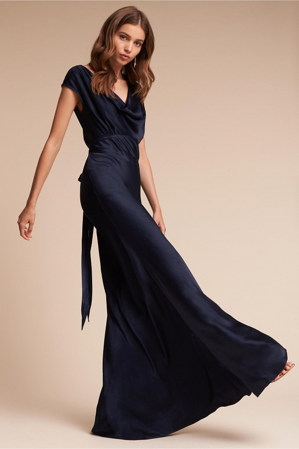 Midnight-blue satin bridesmaid dress