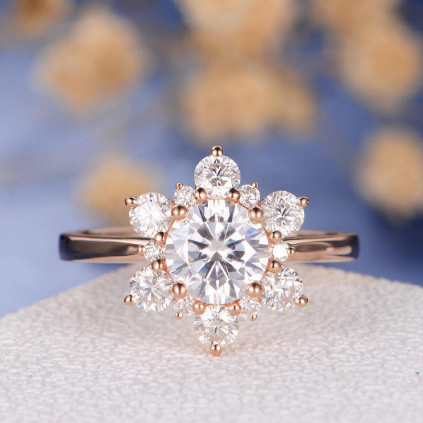 Rose Gold and Moissanite Cluster Ring