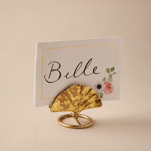 Gold gingko leaf card holder