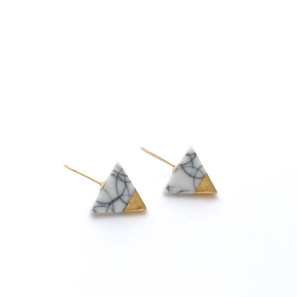 Gold-dipped triangular marble stud earrings