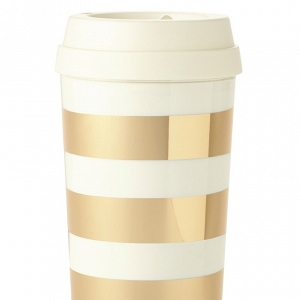 Gold striped thermal mug