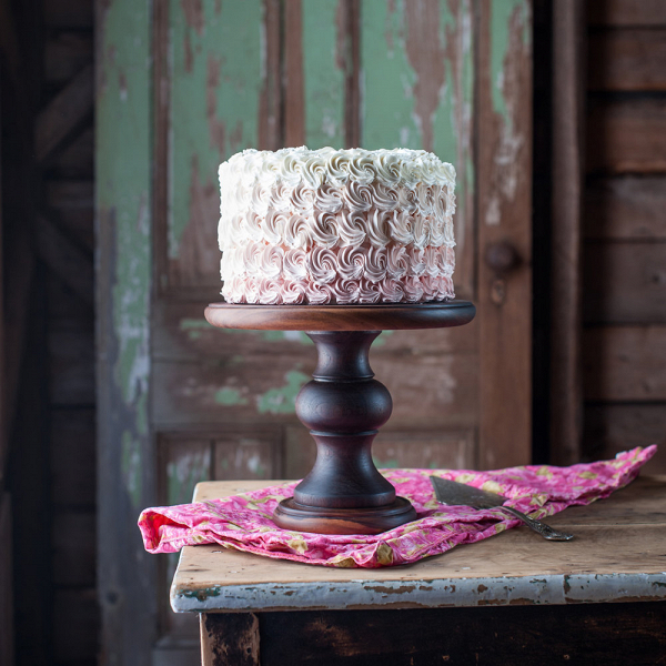 Hand-Turned Walnut Wood Cake Stand
