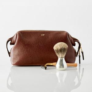 Monogrammed leather grooming kit for men