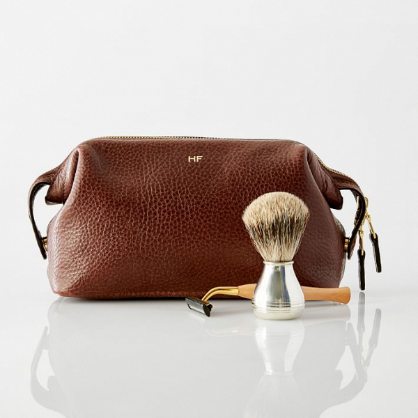 Monogrammed leather grooming kit for men