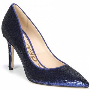 Sequined Blue Pointy-Toe Pumps