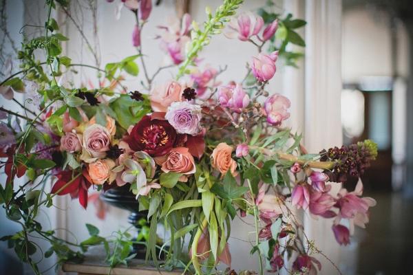 Wild, overgrown floral arrangement by BRRCH