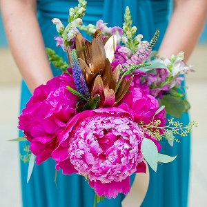 Hot-pink peony bouquet