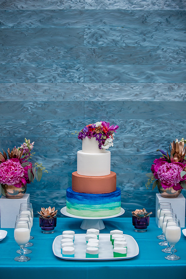 Copper and jewel-toned watercolor wedding cake