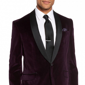 Wine-Colored Velvet Dinner Jacket