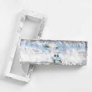 Keepsake bridal box with two blue garters