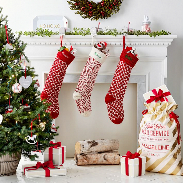 Knitted red-and-white Christmas stockings