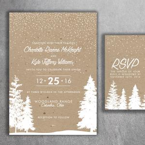 Snowy Wedding Invitation & RSVP