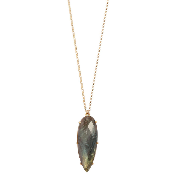 Labradorite and gold prism necklace