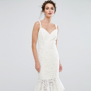 Midi Lace Pencil Wedding Dress
