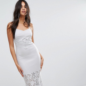 Lace-Paneled Bodycon Midi Bridesmaid Dress