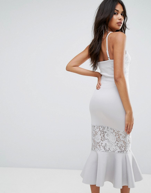 Lace-Paneled Bodycon Midi Bridesmaid Dress Back