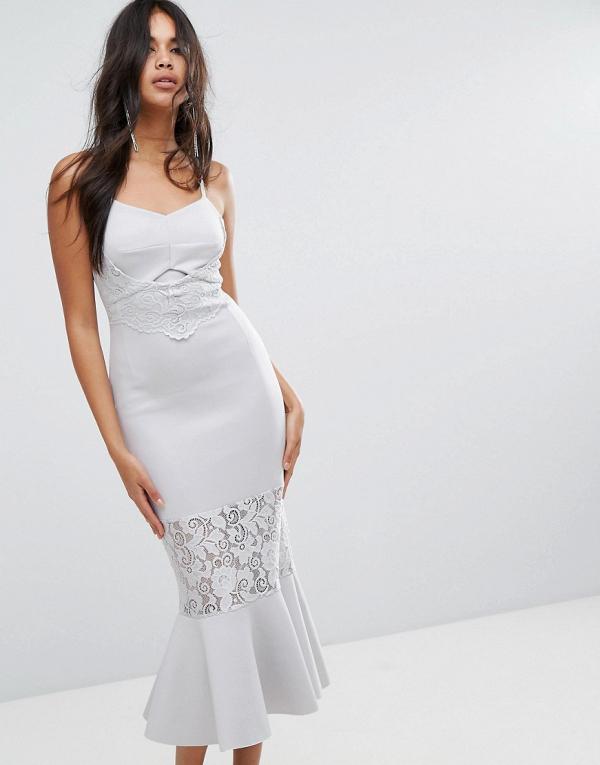 Lace-Paneled Bodycon Midi Bridesmaid Dress