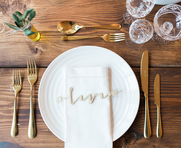 Laser-cut birch wood place cards