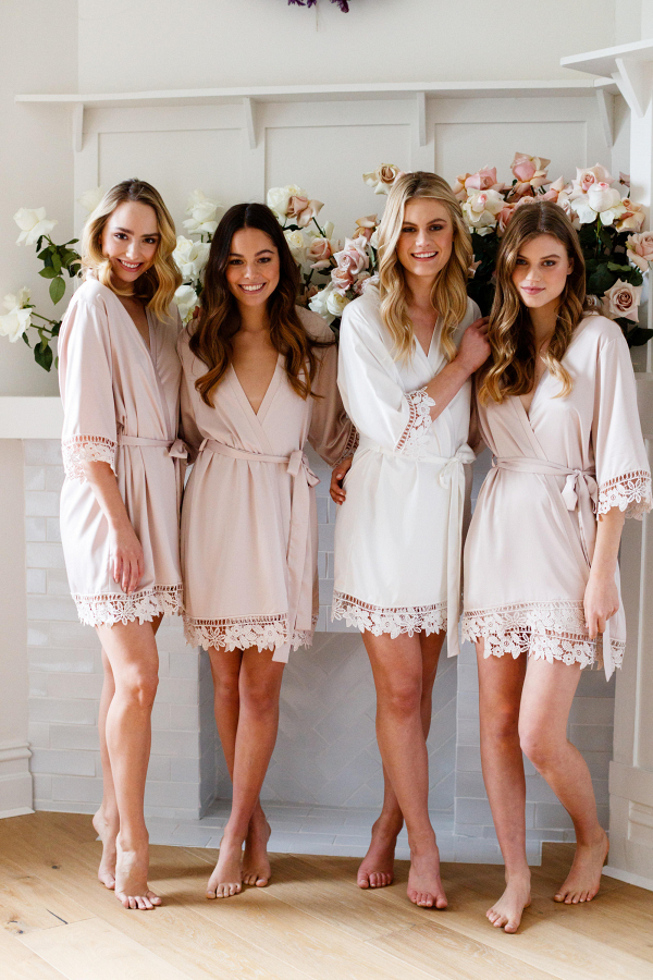 Lace-Trimmed Satin Bridesmaid Robe