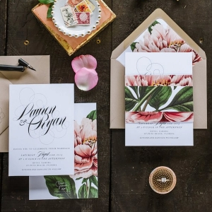 Peony-inspired wedding invitation suite
