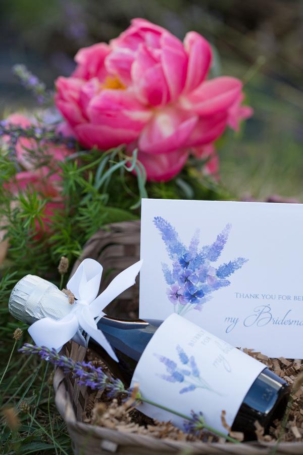 Lavender-themed bridesmaid gift box