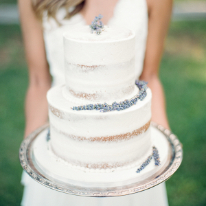 Nearly naked cake with lavender