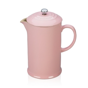 Pastel pink ceramic French press from Le Creuset
