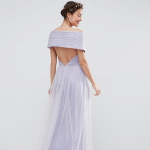 Lilac tulle maxi dress