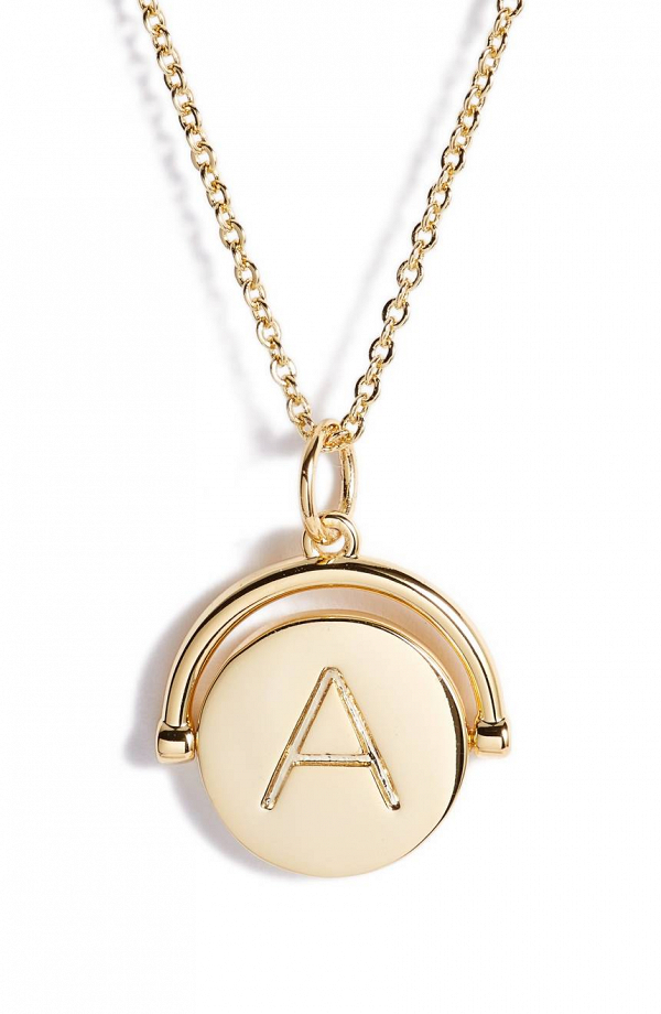 Gold Spinning Initial Necklace