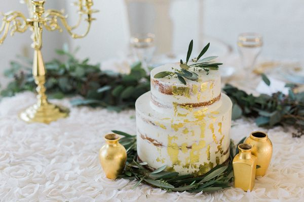 Gold-leafed naked cake