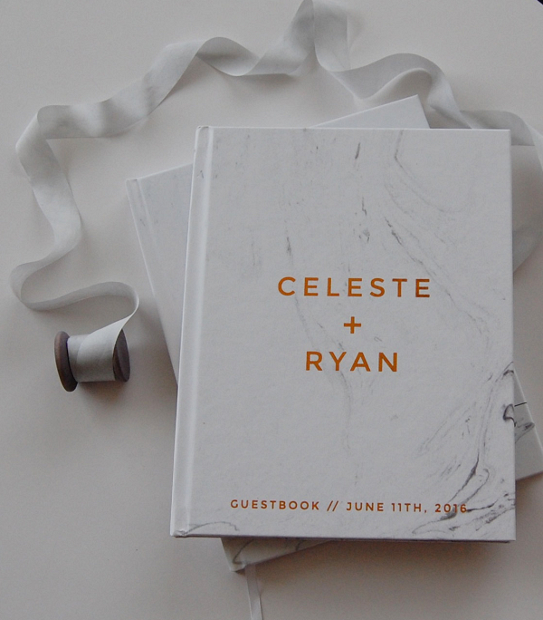 Marble and copper foil guestbook