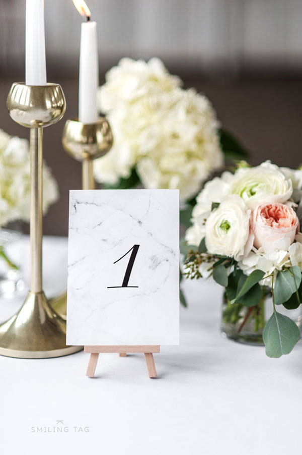 Marbled table number cards for modern weddings
