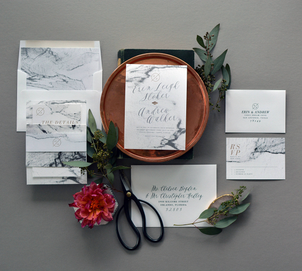 Marble wedding invitation suite