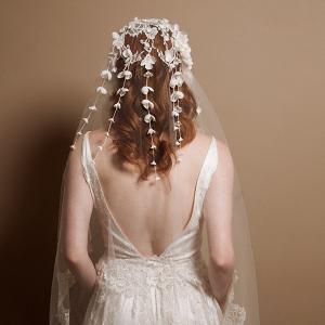 Marianne Lace Juliet Cap Veil