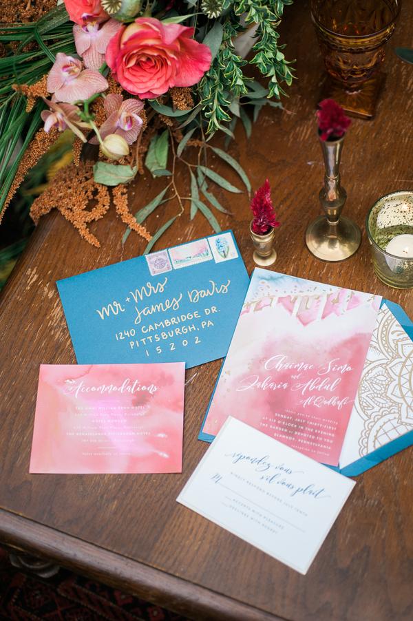 Moroccan-inspired wedding invitation