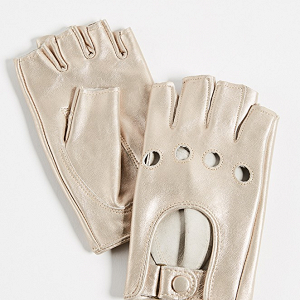 Metallic fingerless moto gloves