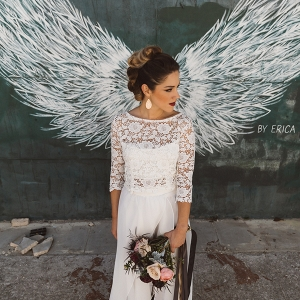 Angel wing bridal portrait