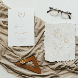 Hand-Lettered Invitation Suite in Gold