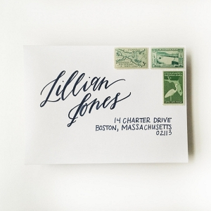 Whimsically modern envelope calligraphy