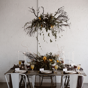 Modern Halloween tablescape inspired by the color marigold