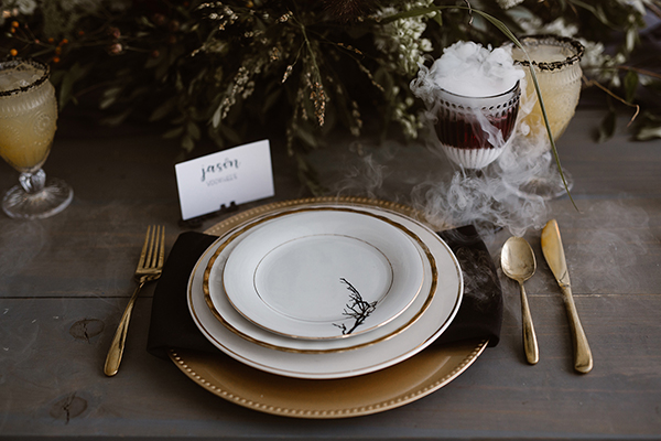 Modern Halloween place setting