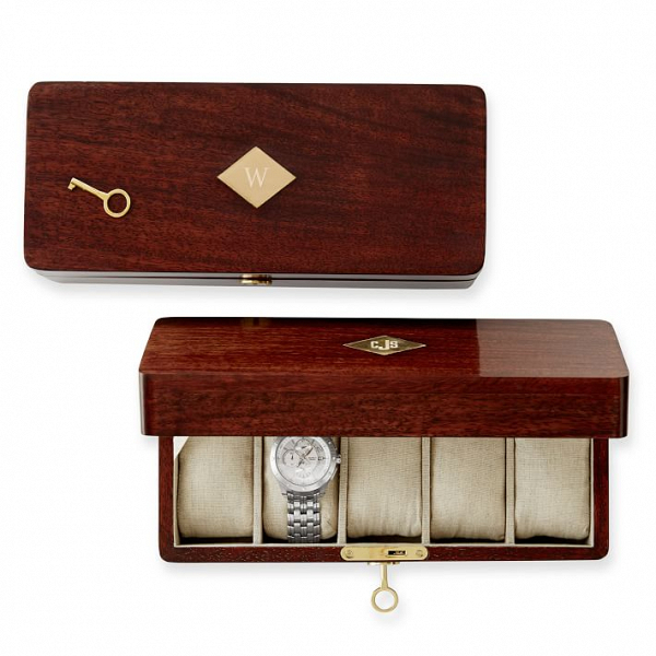 Monogrammed acacia wood watch box