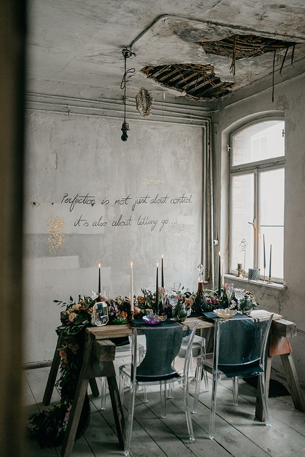 Whimsically moody tablescape