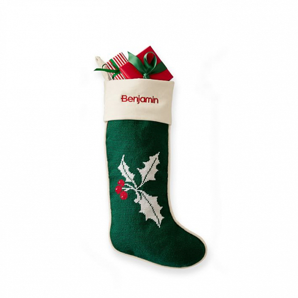 Needlepoint Christmas stocking with holly berries